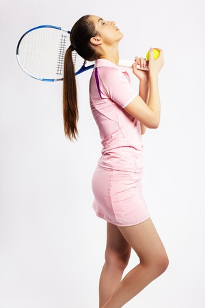 tennis skirt: portrait of sporty girl tennis player with racket Stock Photo