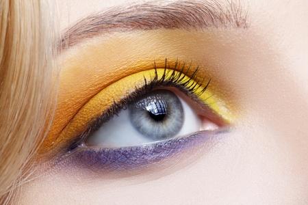 closeup portrait of beautiful girls eye-zone make-up