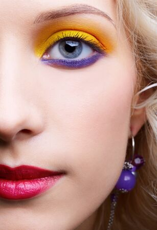 closeup portrait of beautiful girls eye-zone make-up photo