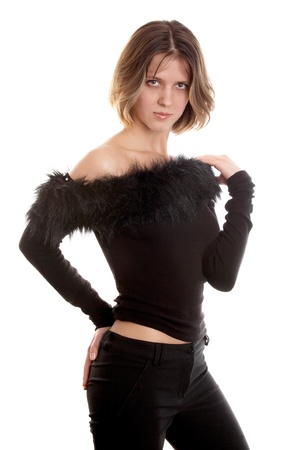 decolette: Pretty  brunette woman in black dress on white background  Stock Photo