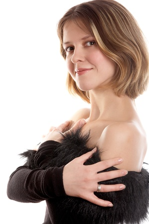 decolette: Pretty smiling brunette woman on white background Stock Photo