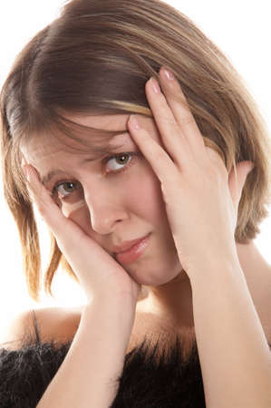 woe: Young woman with headache