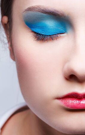close-up half face portrait of beautiful girl's make-up Stock Photo - 9154531