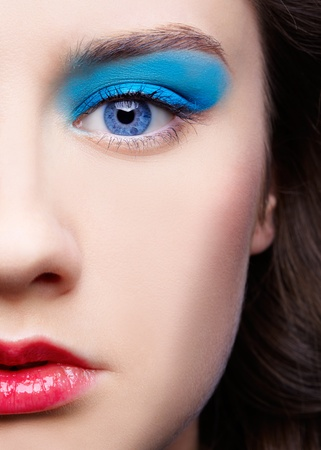 close-up half face portrait of beautiful girl's make-up Stock Photo - 9154454