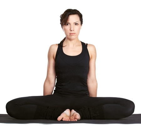 full-length portrait of beautiful woman working out yoga excercise baddha konasana (bound angle pose) on fitness mat Stock Photo - 9191100
