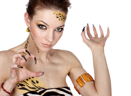 portrait of girll in cat make-up and bodyart Stock Photo - 9338877
