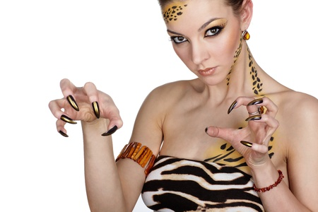 portrait of girll in cat make-up and bodyart Stock Photo - 9338887