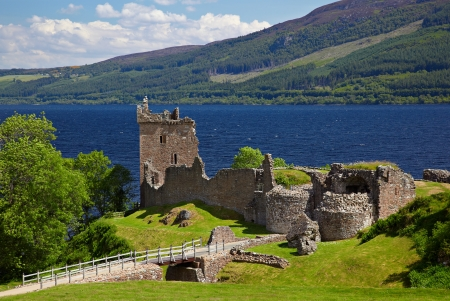Ruins of Urquhart Castle near Loch Ness like Stock Photo