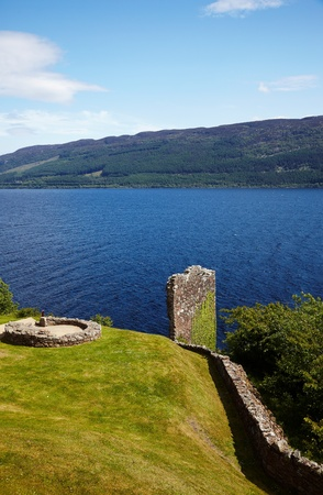 loch ness: Ruins of Urquhart Castle near Loch Ness like Stock Photo