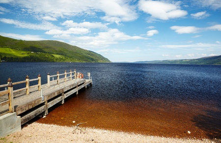 loch ness: Planked footway on Loch Ness lake in Scotland Stock Photo
