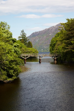 ness river: Centuries-old trestle style wooden bridge at Fort Augustus