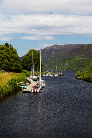 loch ness: Canal with yachts at Fort Augustus, Scotland, Loch Ness Stock Photo