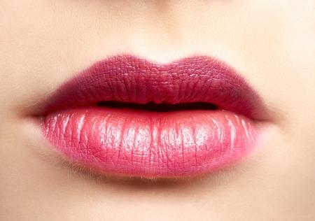 close-up portrait of beautiful woman lips make up