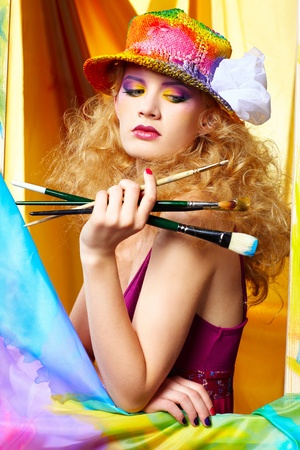 portrait of beautiful woman artist Stock Photo