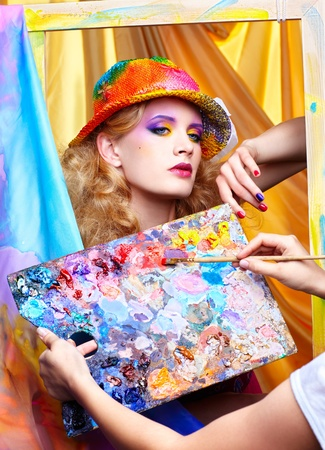 painter girl: artist Stock Photo