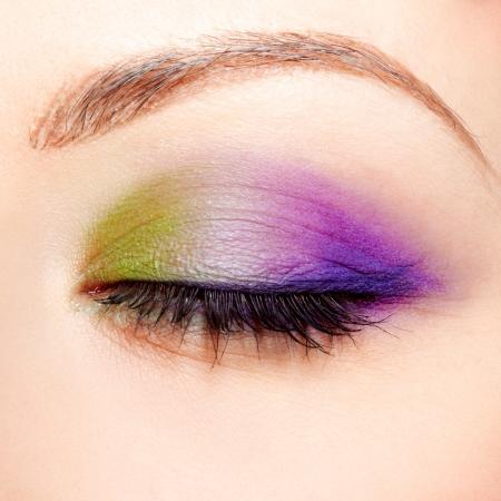 close-up portrait of beautiful girls eye zone make up