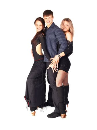 hustle: isolated portrait of three hustle dancers, one guy and two girls in black dresses