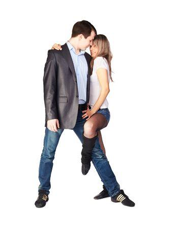 hustle: Isolati ritratto di trambusto ballo coppia con passione