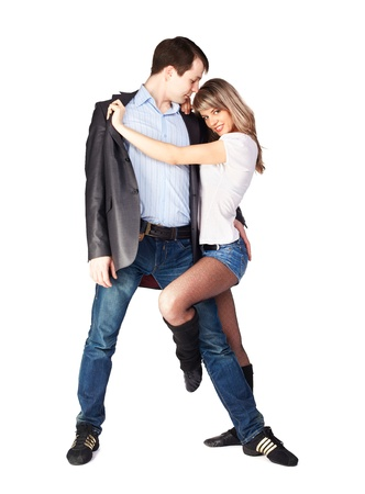hustle: isolated portrait of couple dancing hustle with passion Stock Photo