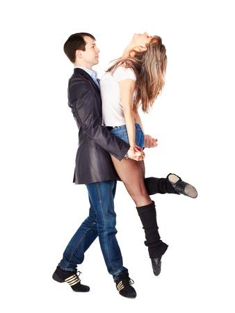 bailarin hombre: Aislado retrato de ajetreo pareja de baile. chico plantea niña en las manos Foto de archivo