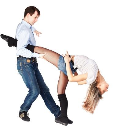 stockings woman: isolated portrait of couple dancing hustle