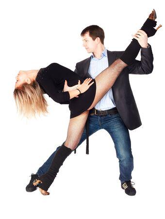hustle: isolated portrait of couple dancing hustle