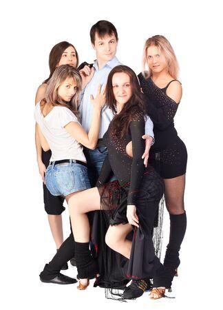 hustle: ritratto isolato di cinque danzatori trambusto, quattro ragazze che circondano il ragazzo