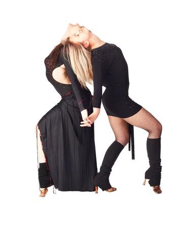 hustle: Ritratto isolato di due ballerini trambusto ragazze in abiti neri