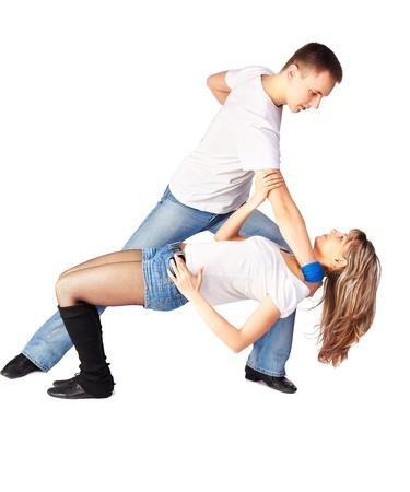 isolated portrait of couple dancing hustle photo