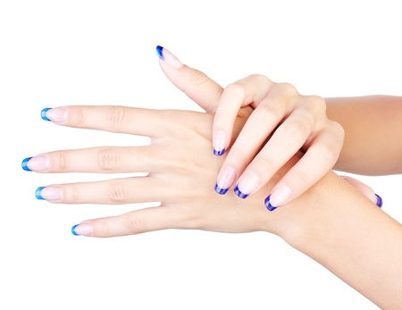 french model: Hands with womans professional blue french nails manicure isolated on white  Stock Photo