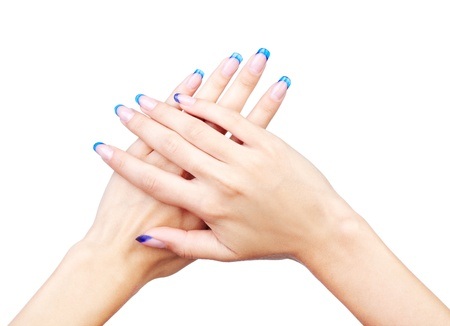 Hands with woman's professional blue french nails manicure isolated on white Stock Photo - 10810613