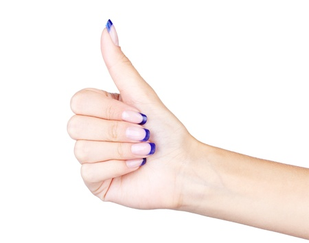 isolated body part shot of healthy woman's hand making big thumb up gesture  on white Stock Photo - 10810571