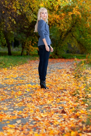 Young beautiful girl walking in autumn park Stock Photo - 11178450