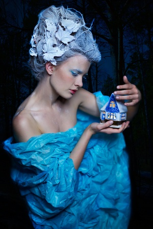 fantasy portrait of beautiful young woman imaging ice fairy on frozen blue with toy house in the night forest Stock Photo - 11178503