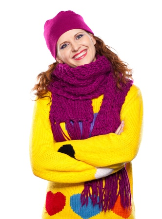 yellow fleece: Young woman in hat and scarf isolated on white background