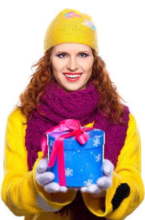 Beautiful happy young woman with present  on white background photo