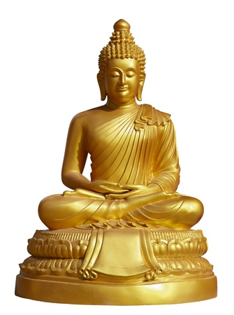 eyes shut: isolated shot of golden statue of Buddha sitting in lotus pose with eyes shut