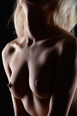 nude blonde woman: body part portrait of young nude blonde woman with beautiful  Stock Photo