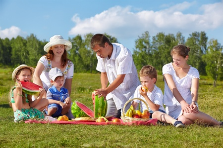outdoor group portrait of happy family having picnic on green grass in park  father is cutting watermelon Stock Photo - 12671308