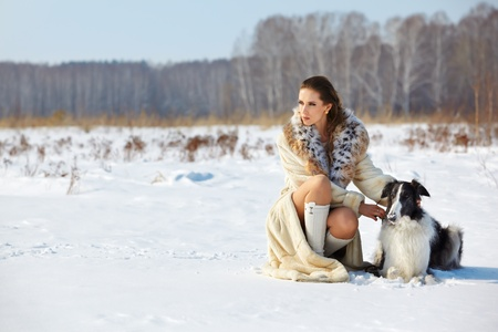 european white birch: outdoor portrait of beautiful brunette woman in fur coat with borzoi in snowy filed with winter forest on background Stock Photo