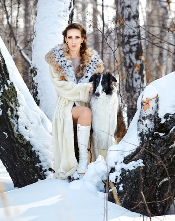 european white birch: outdoor portrait of beautiful brunette woman with russian wolfhound in snowy winter birch forest