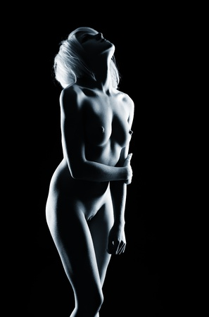 naked girl black hair: portrait of young nude blonde woman with beautiful body