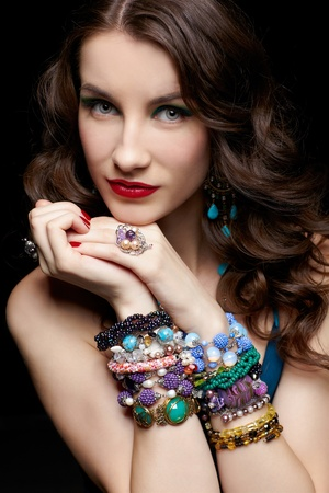 portrait of young beautiful brunette woman in jewellery Stock Photo - 13701689