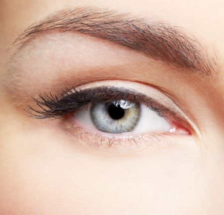 close-up portrait of young beautiful womans eye zone make-up Stock Photo