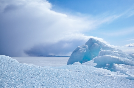 north: Winter ice landscape on siberian lake Baikal Stock Photo