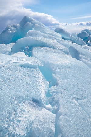 interstice: Winter ice landscape on siberian lake Baikal Stock Photo