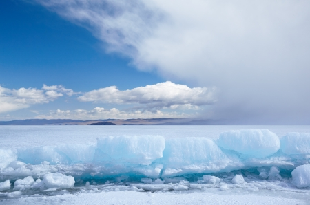frozen lake: Winter ice landscape on siberian lake Baikal Stock Photo