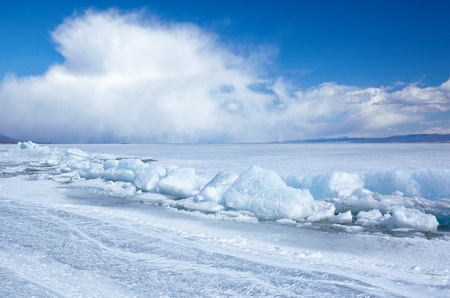 arctic landscape: Winter ice landscape on siberian lake Baikal Stock Photo