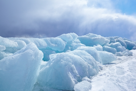 polar climate: Winter ice landscape on siberian lake Baikal Stock Photo