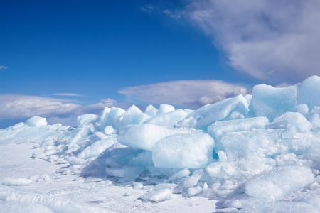 Winter ice landscape on siberian lake Baikal photo